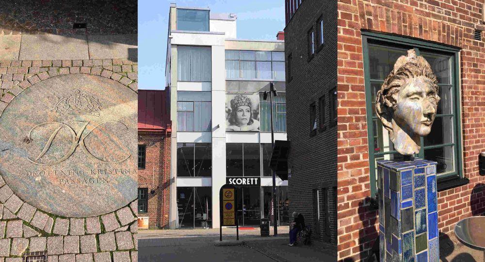 Drottning Kristina är närvarande på flera platser i Halmstad. Som staty, väggmålning och gatukonst.